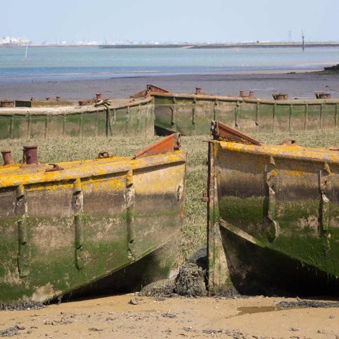 WW2 concrete fuel barges, Gillingham Marshes, River Medway.