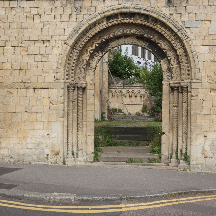 Norman arch of WW2 damaged, St James Church Dover Kent built c. 1070.