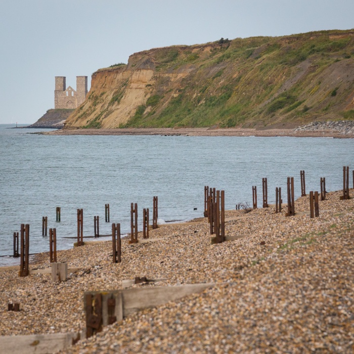 St Mary's Church, Reculver from Herne Bay.