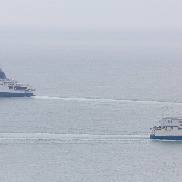 Ferries, Pride of Kent & Rodin - Calais pass near Dover.