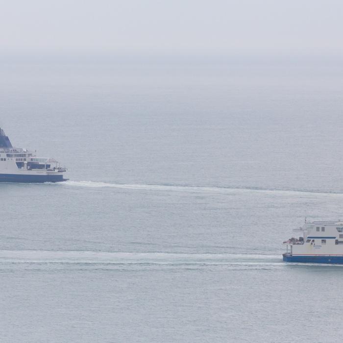 Ferries, Pride of Kent & Rodin - Calais pass near Dover.