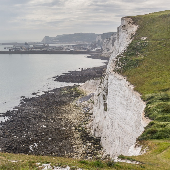 Port of Dover and white cliffs above Fan Bay.