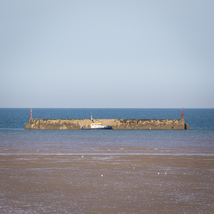 Phoenix caisson, low tide off Littlestone-on-Sea. Mobile concrete harbour as used in WW2 to ferry troops and vehicles onto the Normandy beaches, following the D-Day landings.