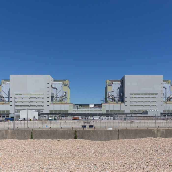 Twin reactor buildings of the Dungeness A Nuclear Power Station which stopped producing electricity in December 2006. The turbine hall was demolished in Jan 2015 which previously stood in front of the reactors. The site is due to be cleared in 2097.