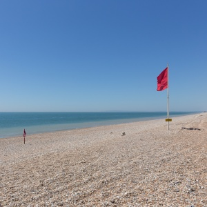 Live firing flag, Lydd Ranges, Dungeness.