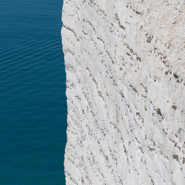 Chalk sea cliff at Beachy Head which rise to 162m, Sussex,