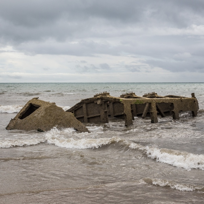 Wreck of WW2 Mulberry Harbour pontoon, Bognor Regis, Sussex.