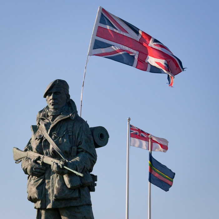 The Yomper, by sculptor Philip Jackson, Royal Marines Museum, Portsmouth, Hampshire. It is modelled on a photograph of Corporal Peter Robinson yomping to Sapper Hill during the Falklands War of 1982