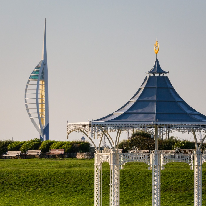 Southsea Bandstand and Spinnaker Tower, Portsmouth, Hampshire.