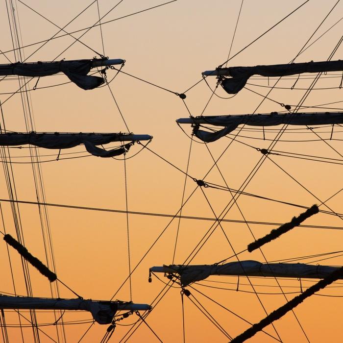 Tall ship rigging, Gunwharf Quays, Portsmouth, Hampshire.