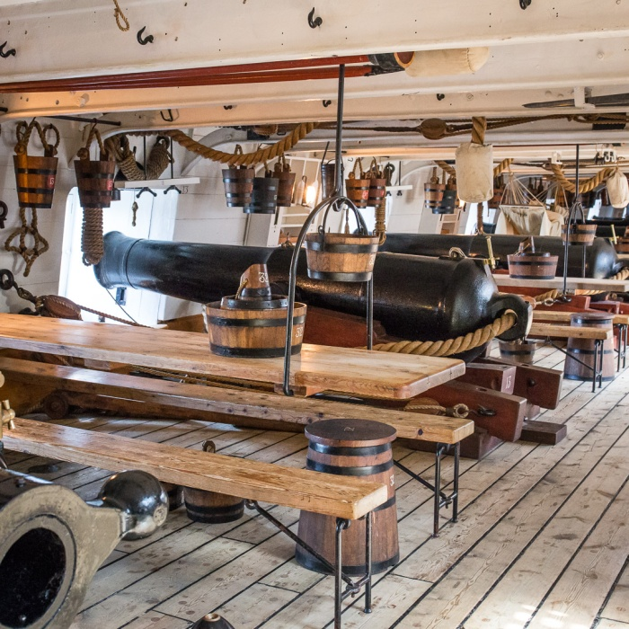 HMS Warrior, gun deck after restoration, Portsmouth Naval Base, Hampshire.