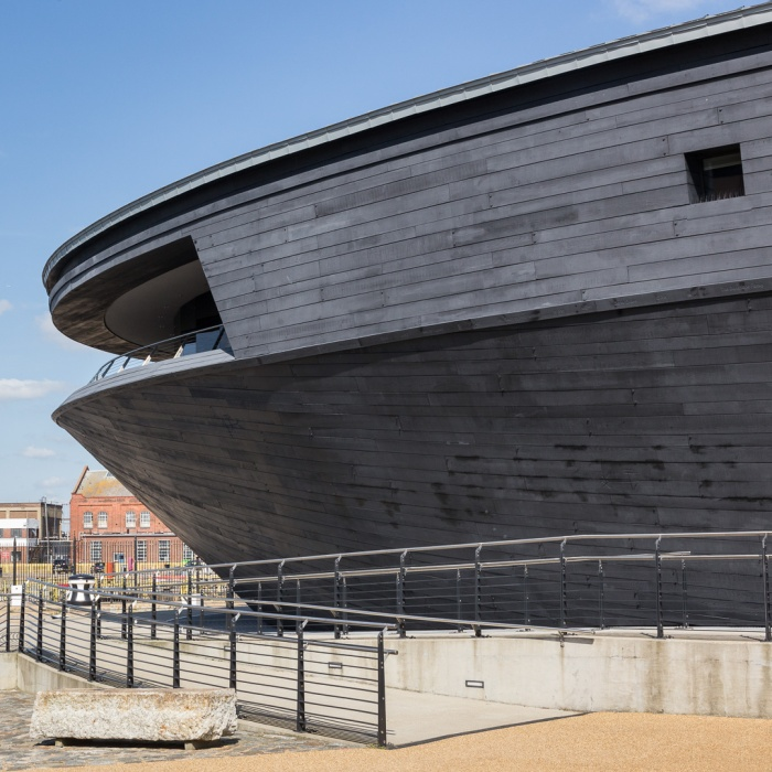 Mary Rose Museum designed by architects Wilkinson Eyre, built in 2013, Portsmouth Naval Base, Hampshire.