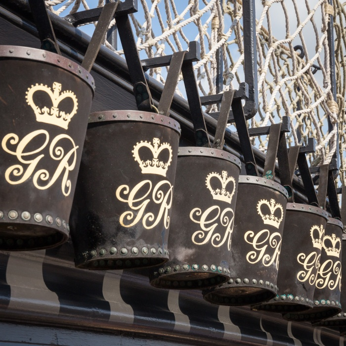 Fire buckets on the HMS Victory's Quarter Deck on which Lord Nelson was shot by musket fire in 1805, Portsmouth Naval Base, Hampshire.