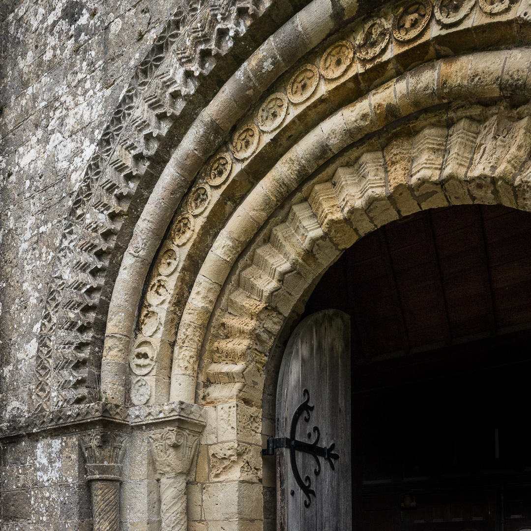 Norman west door, St Mary's Portchester, Hampshire.