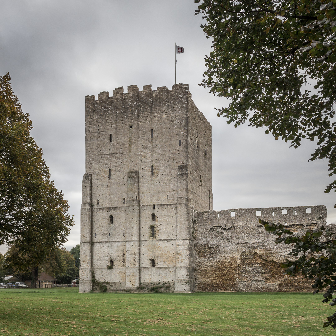 Portchester Castle's 12th century keep, Hampshire.