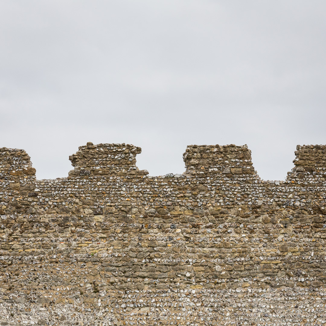 Roman walls of Portchester Castle, Hampshire.