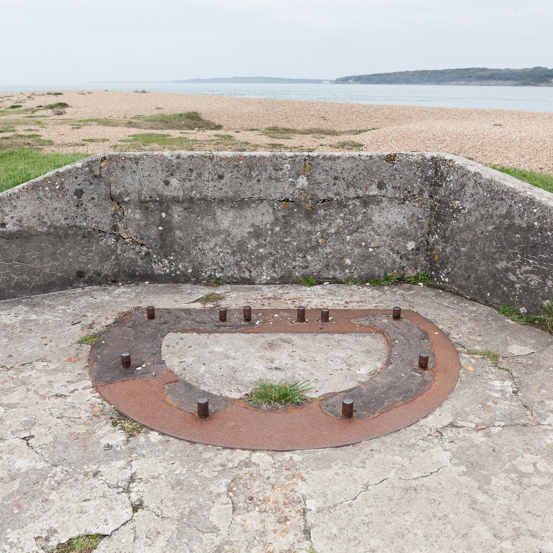 6-pounder quick-firing gun mounting plate overlooking the Solent, Hurst Castle, Hampshire.