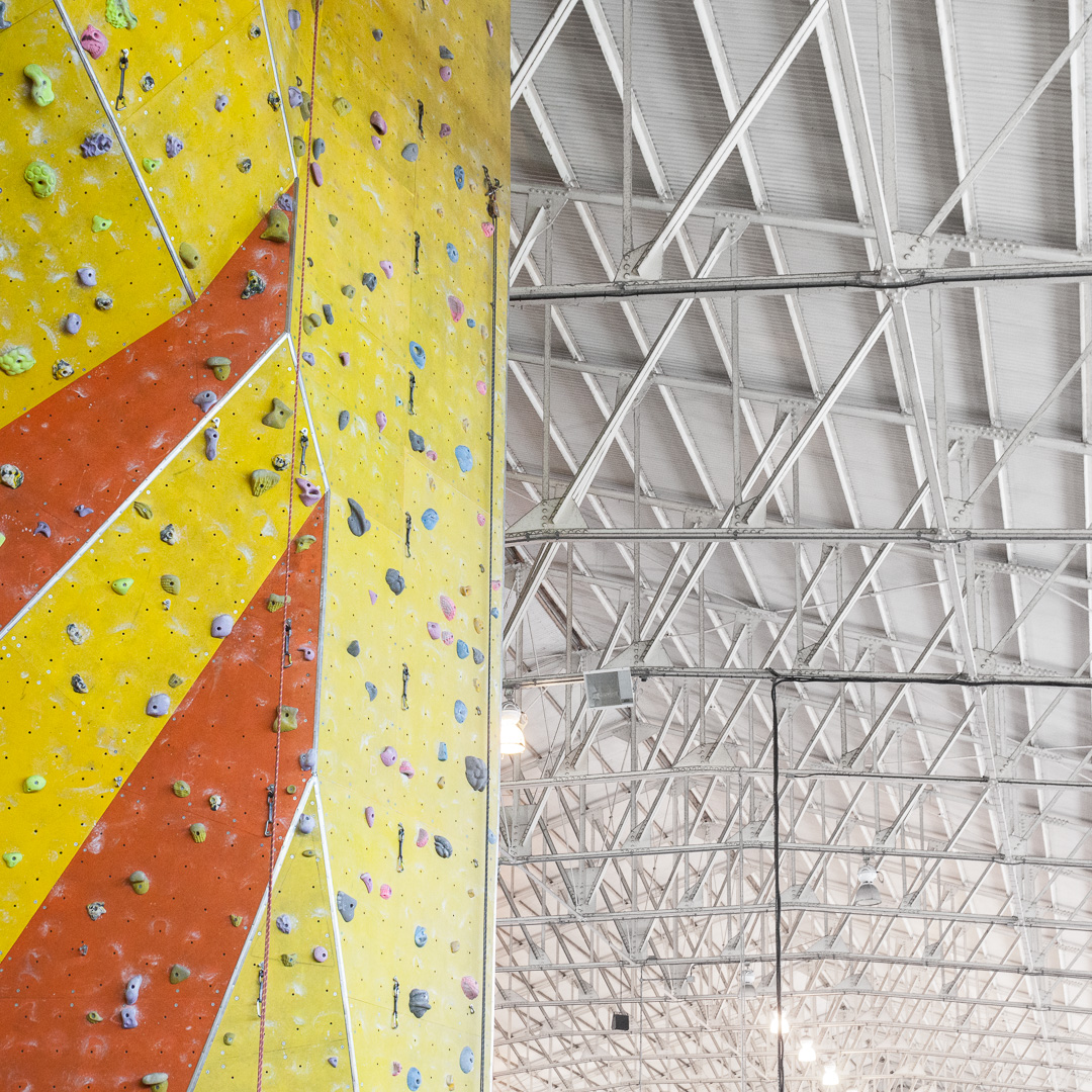 Climbing Wall, Calshot Activities centre housed in former Short Sunderland flying boat hangar, Hampshire.