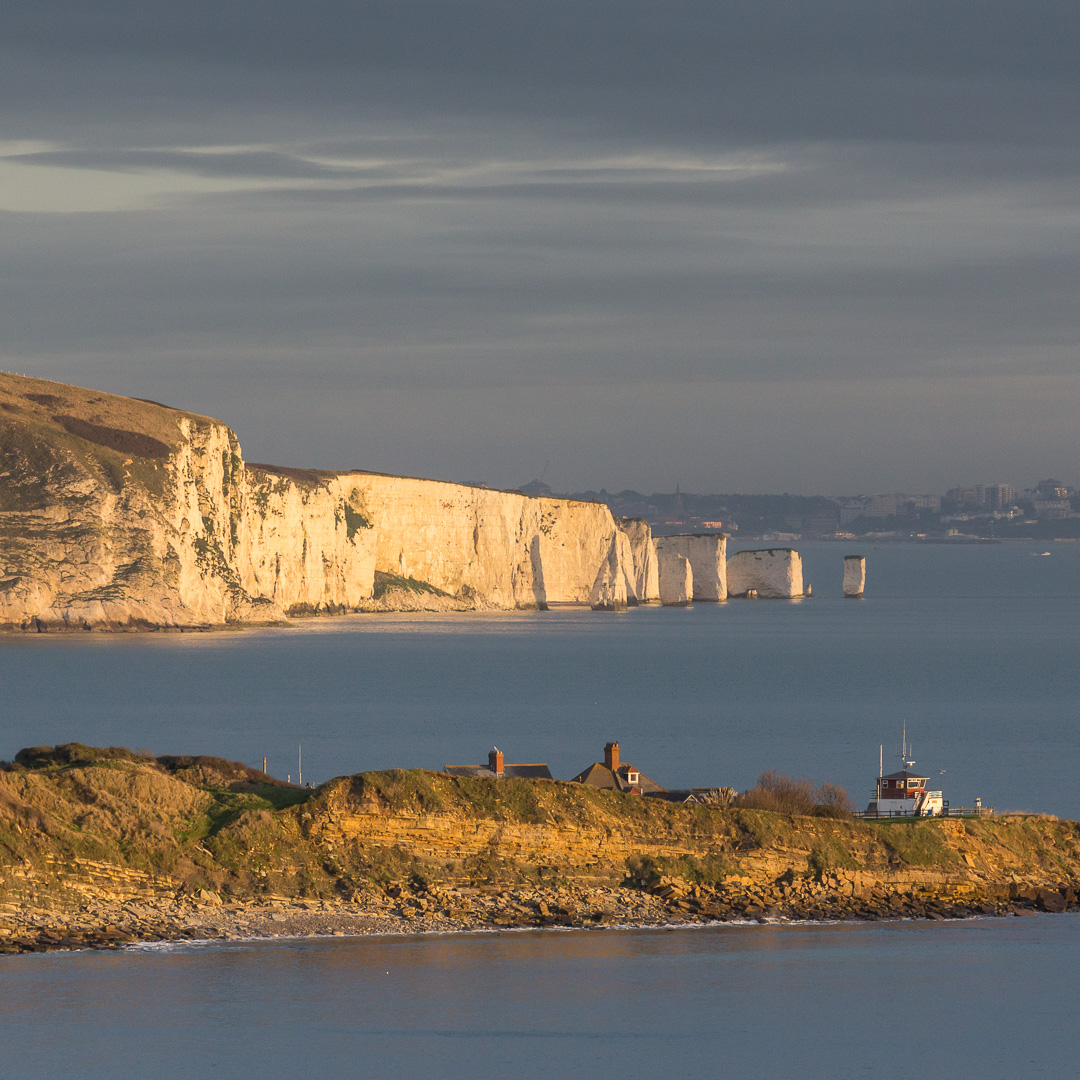 Peveril Point, Old Harry Rocks & Bournemouth from Durlston Head, Dorset.