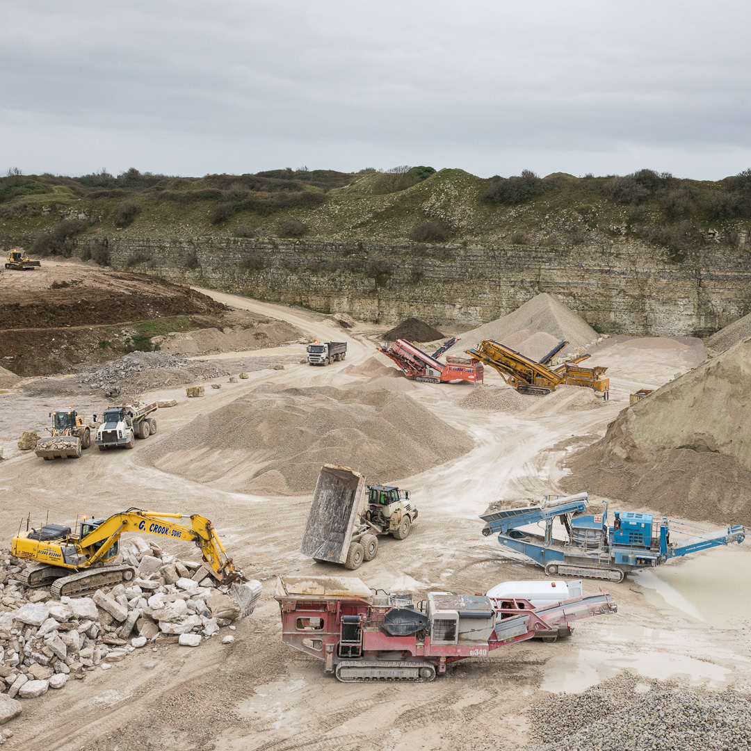 Admiralty Quarry, operated by G Crook and Sons for extraction and crushing of limestone (Portland stone) Dorset.
