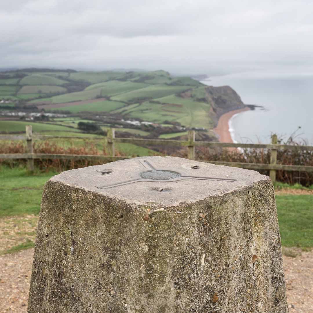 Trig Point Pillar, Golden Cap, at 191m the highest point on the south coast, Dorset.