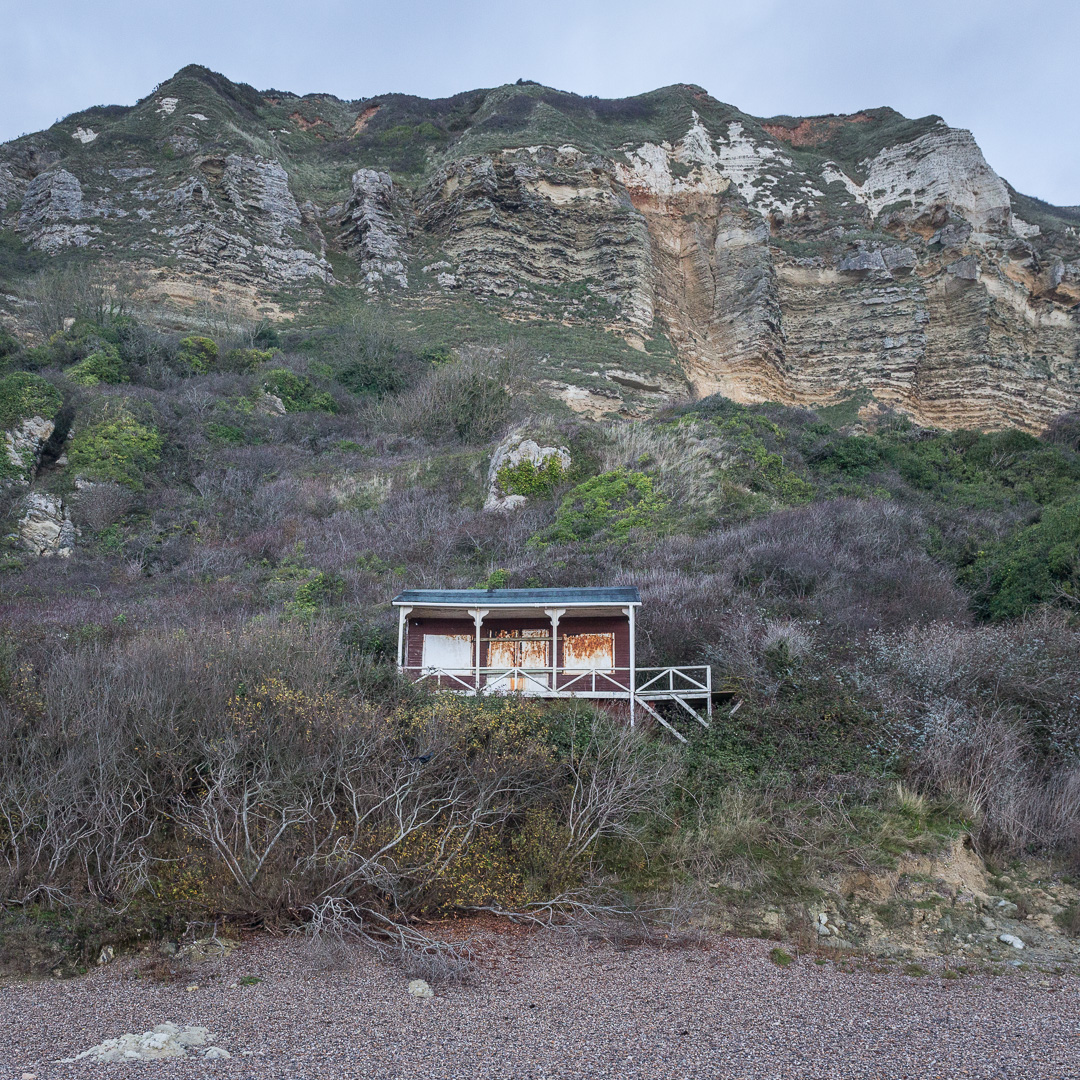Beach hut, Hooken Cliffs, Devon.