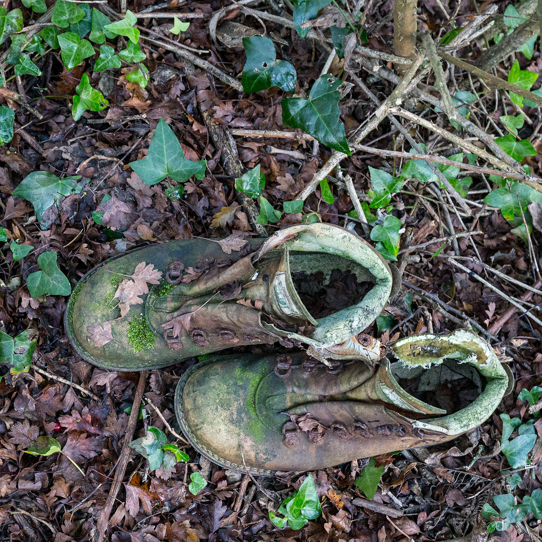 Discarded boots, Weston Combe, Devon.