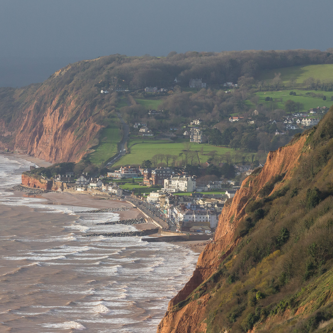 Sidmouth from Higher Dunscombe Cliff, Devon.