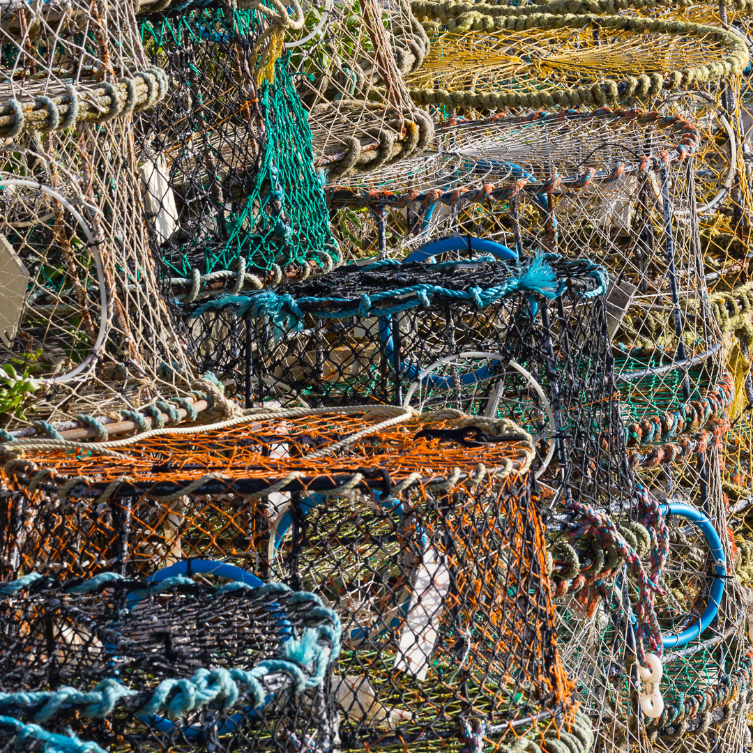 Lobster pots, Brixham harbour, Devon.