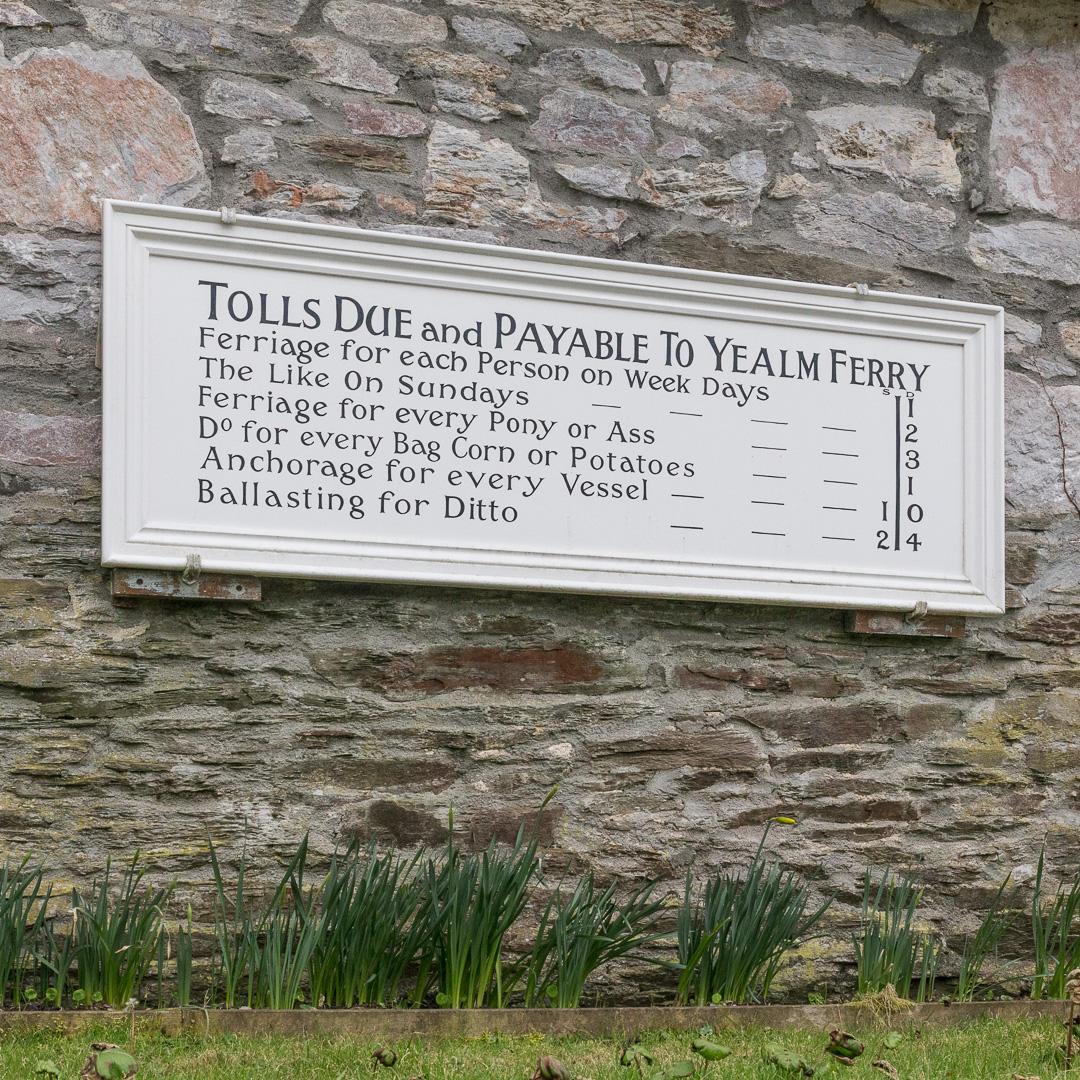Yealm Ferry Tolls, Devon.