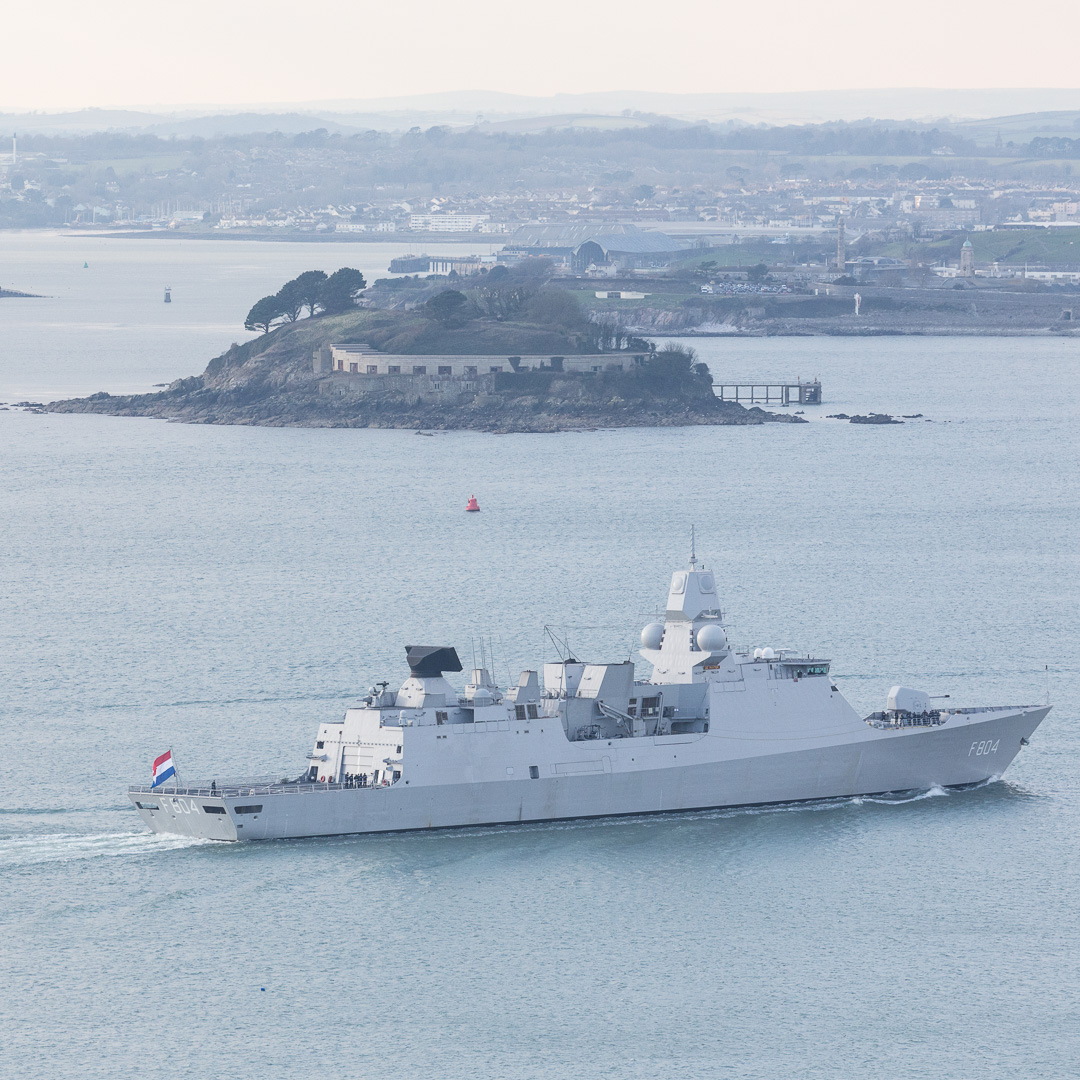 Dutch Frigate, De Ruyter passes Drake's Island, Plymouth Sound, Devon.