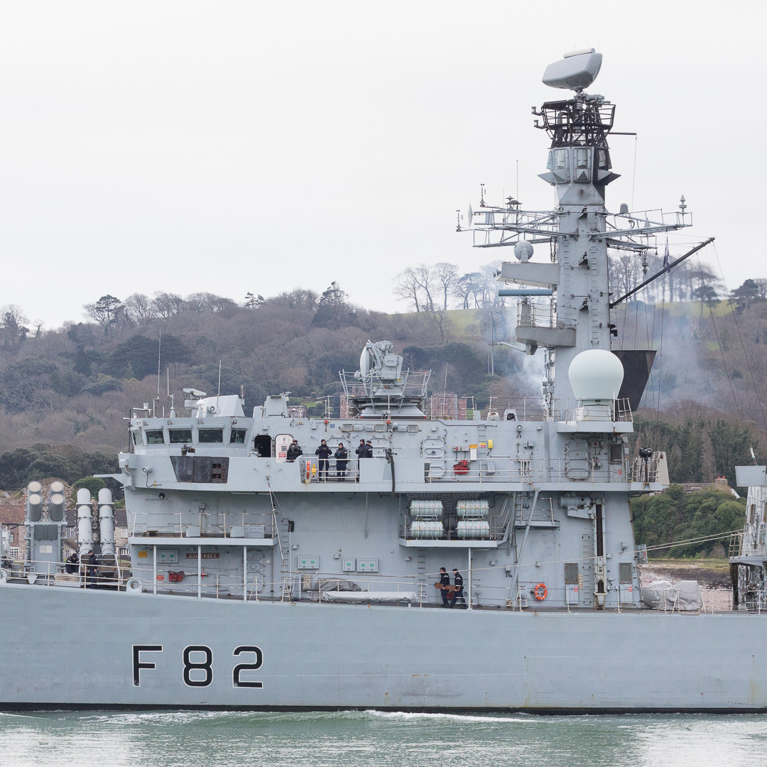 HMS Somerset, a frigate of the Royal Navy leaving Devonport, Plymouth.