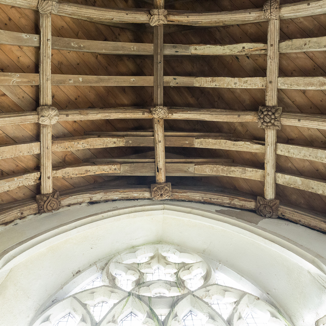 Wagon roof with carved bosses C15, Church of St Mary, Sheviock, Cornwall.