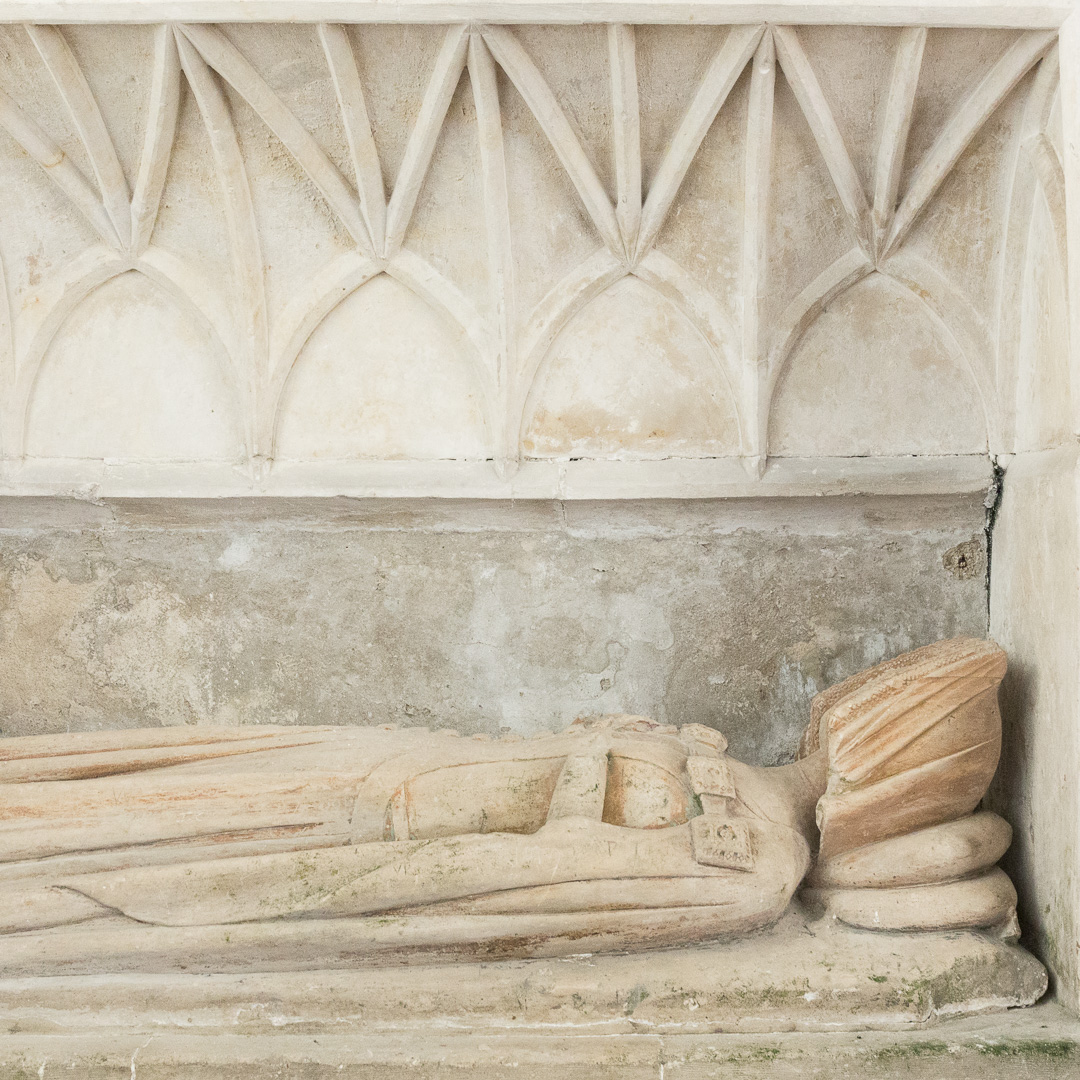 Tomb-chest of Lady Emmeline Dawney c 1375, Church of St Mary, Sheviock, Cornwall.