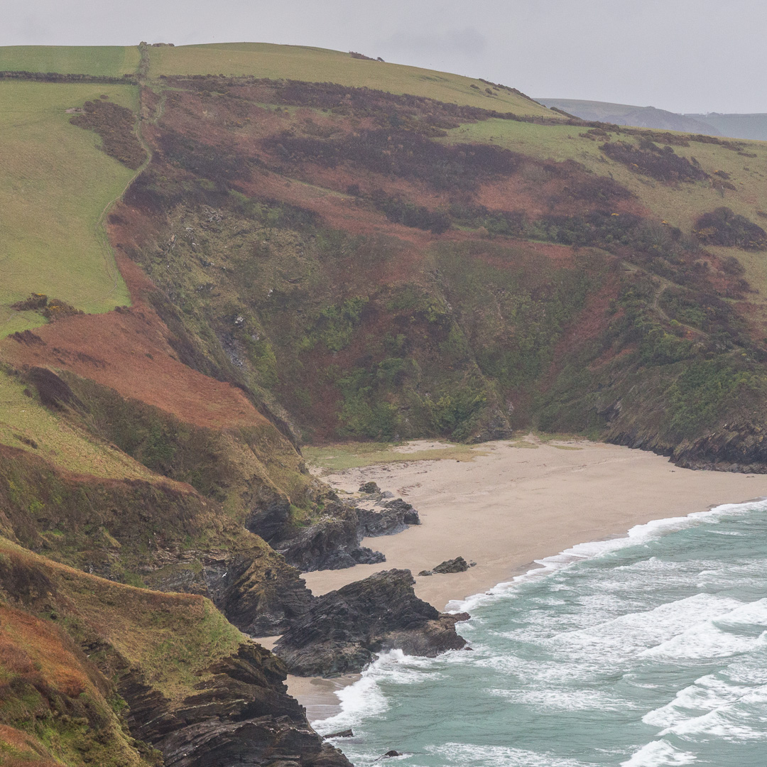 Lantic Bay in rain, Cornwall.