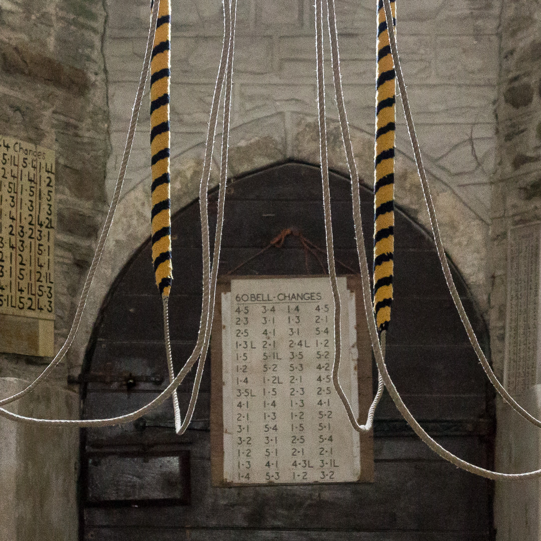 Bell ropes, St Veep Parish Church, Cornwall.
