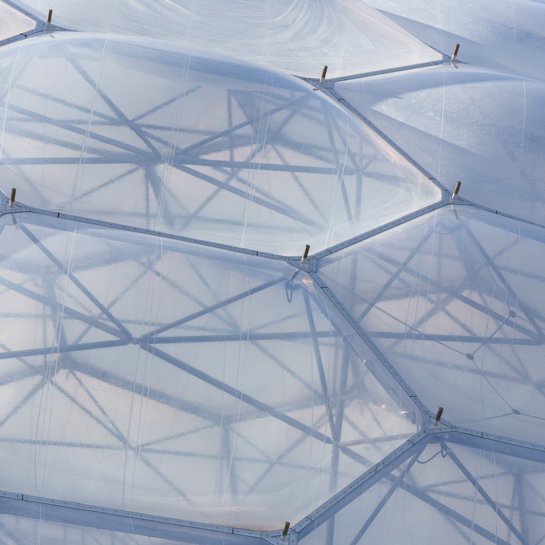 ETFE pillows supported by a steel hexangle structure, Eden Project, Cornwall.