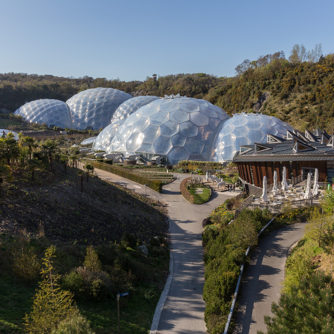 The Eden Project Biomes located in a disused China Clay quarry, Cornwall.