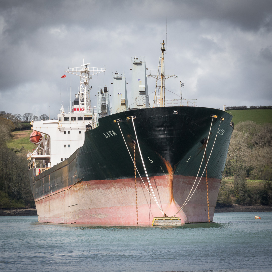 Lita, Bulk Carrier moored in the River Fal, Cornwall.