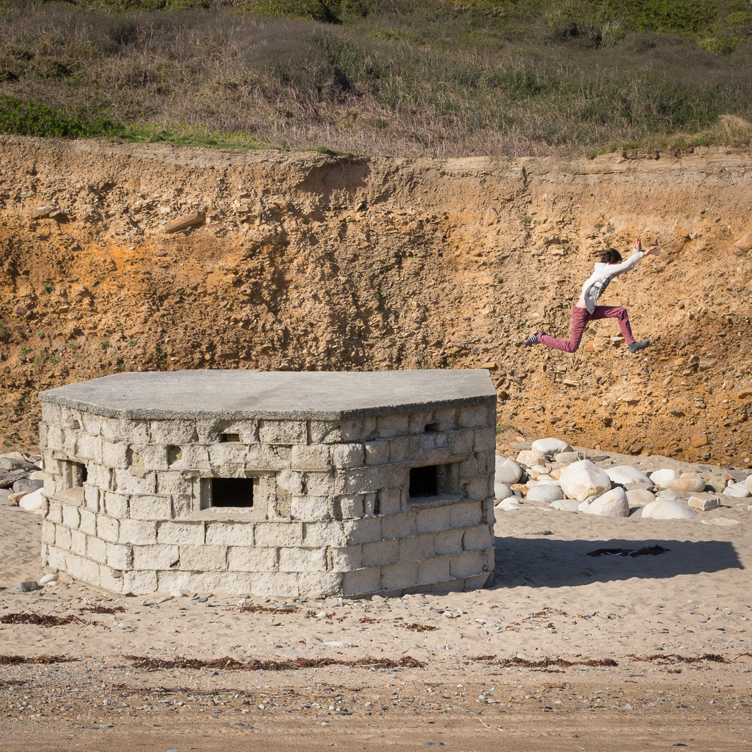 Leap of faith, Praa sands, Cornwall. Cliff erosion has left this WW2 Pillbox sitting on the sand.