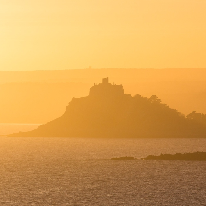 Last light, St Michael's Mount from Cudden Point, Cornwall.