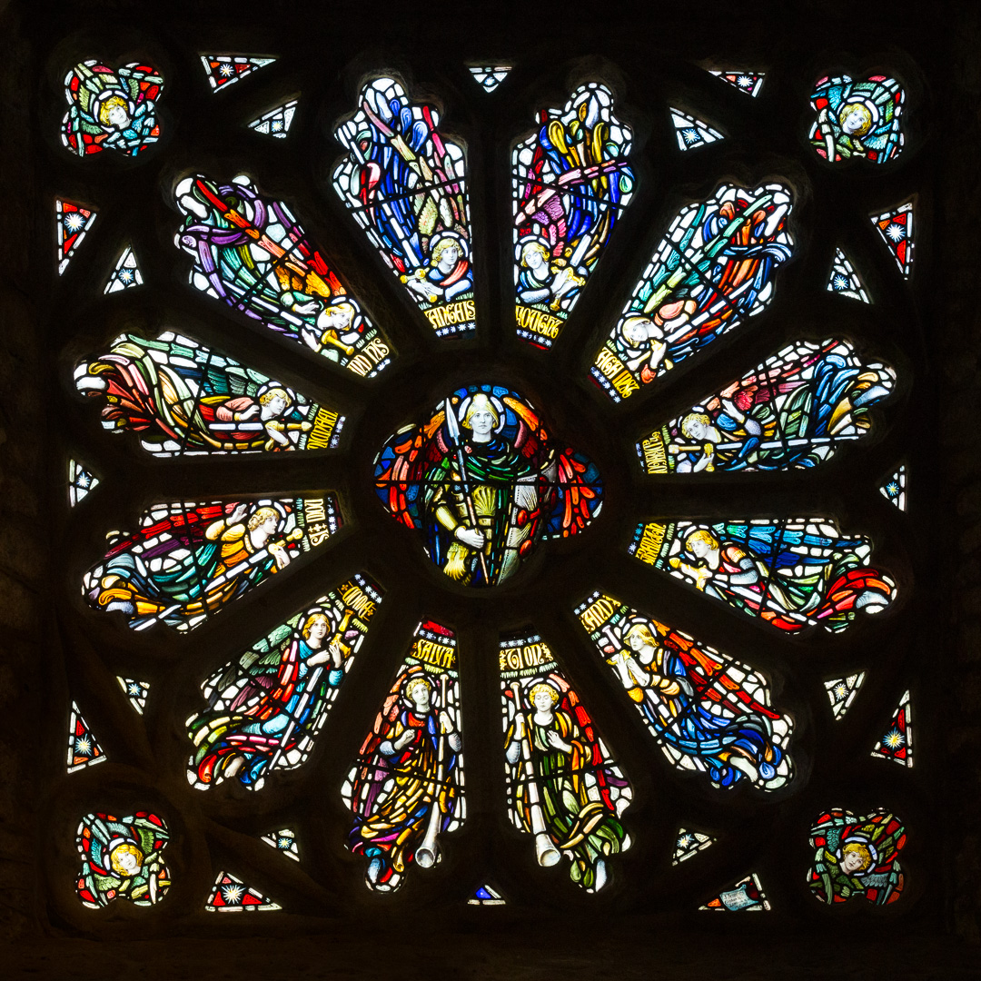 St Michael surrounded by angels. West window of the chapel of St Michael's Mount, Cornwall.