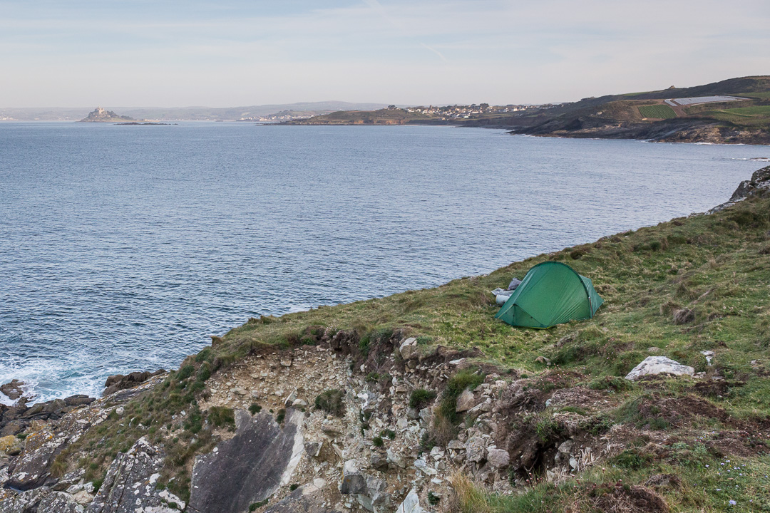 Camp, Cudden Point with St Michael's Mount beyond, Cornwall.