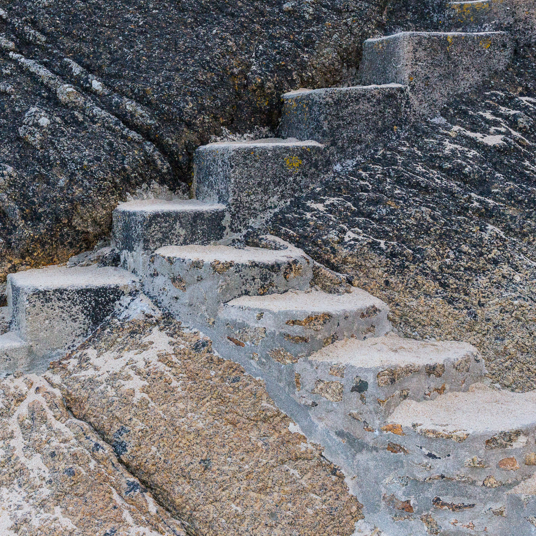 Steps to the Minack Theatre, Porthcurno Bay, Cornwall.