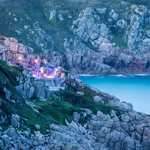Performance at the Minack Theatre, Porthcurno Bay, Cornwall.