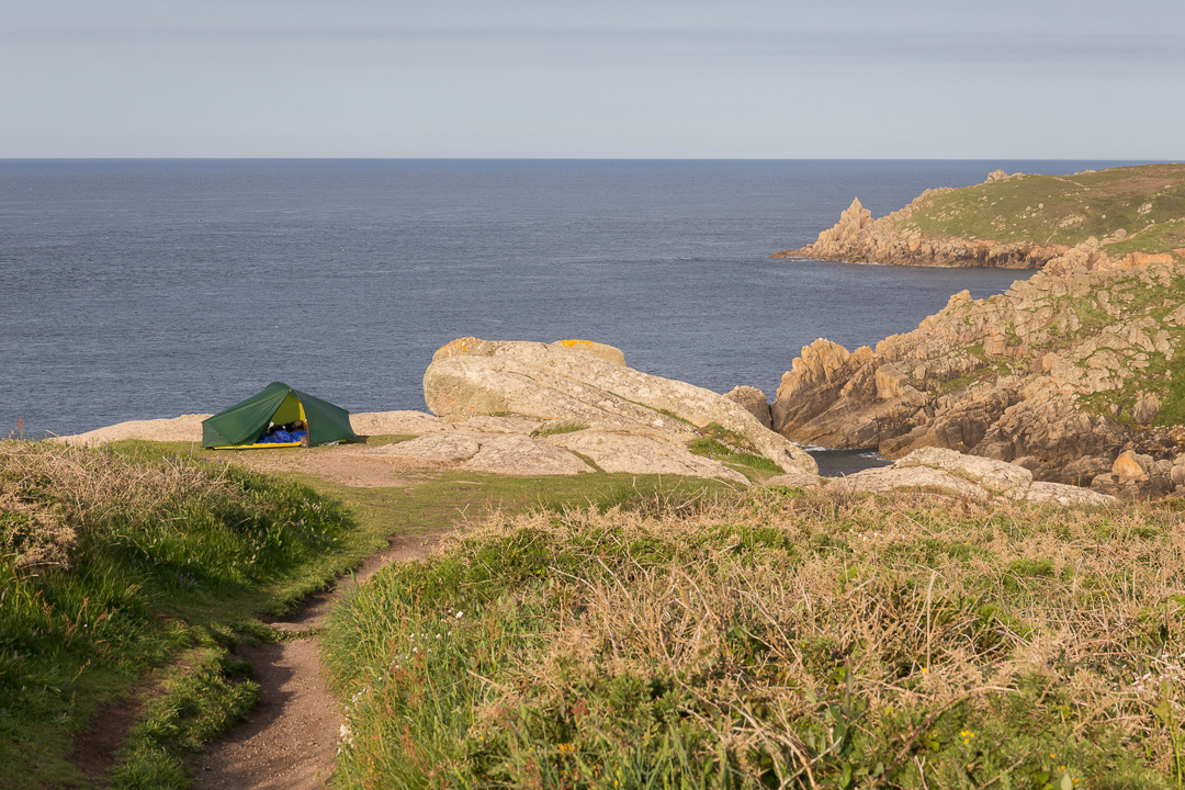 Camp at Pedn-men-an-mere, Cornwall.