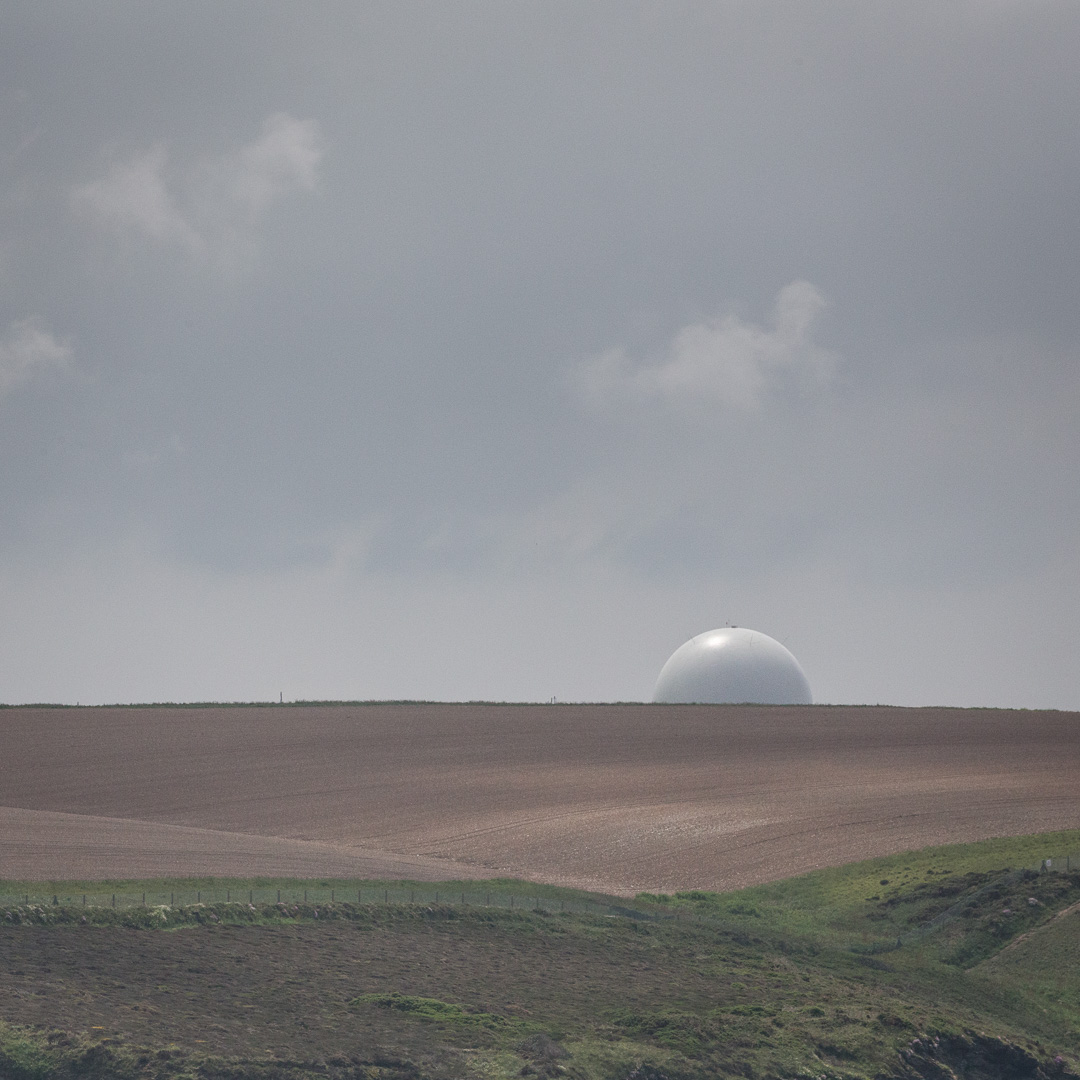 Remote Radar Head Portreath across the fields, Cornwall.