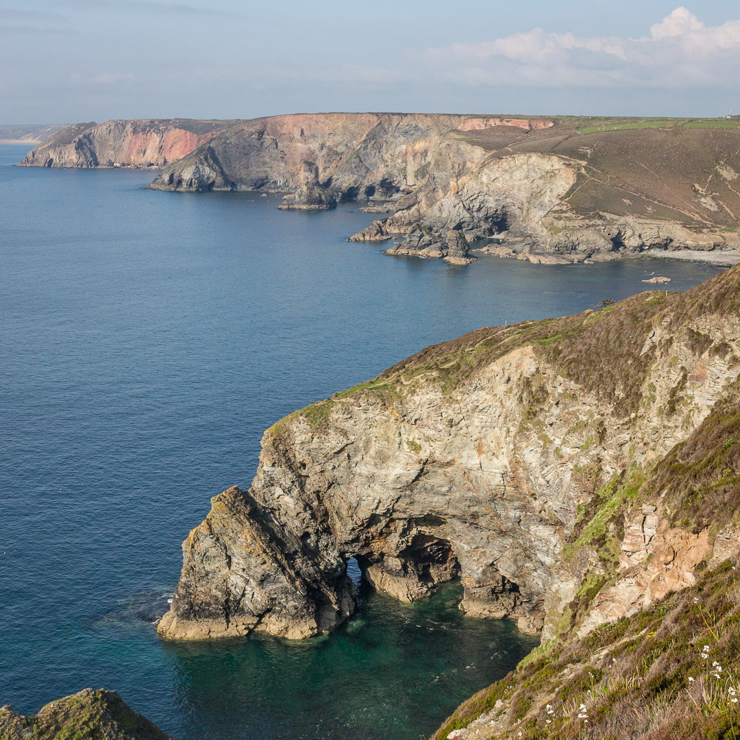 Polberro Cove with Cligga Head beyond, Cornwall.
