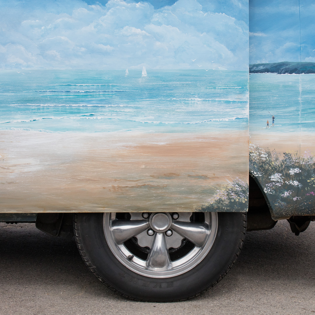 VW Campervan painted by Jeanni Grant-Nelson, Art at The Beach. Mawgan Porth, Cornwall., Mawgen Porth, Cornwall.