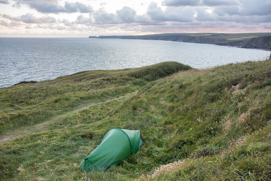 Camp with view to Tintagel, Tresungers Point, Cornwall.
